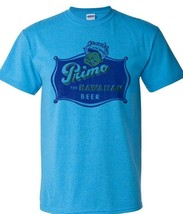 Primo Hawaiian Beer T-shirt Distressed Vintage Label retro heather blue tee image 2