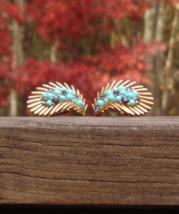 Vintage Crown Trifari Persian Turquoise Montana Sapphire Rhinestone Earr... - $95.00