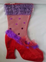 NWT Red Hat Society Purple Red Fishnet High Heels Holiday Christmas Stoc... - $14.58