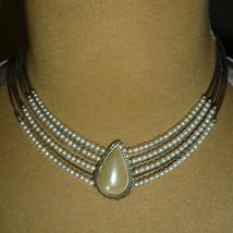 Vintage Mother of Pearl Choker Bracelet Demi Set Art Nouveau B11350 - $17.66