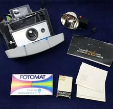 Polaroid 210 Land Camera Flash Leather Case Manuals Self Timer - $25.25