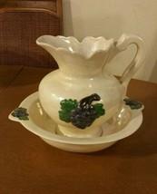 Vintage Porcelain Wash Basin and Bowl Grape Pattern Pearl Finish  - $69.29