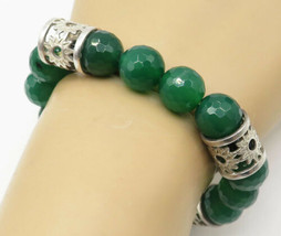 925 Silver - Vintage Faceted Jade Floral Pattern Heavy Beaded Bracelet -... - $141.37