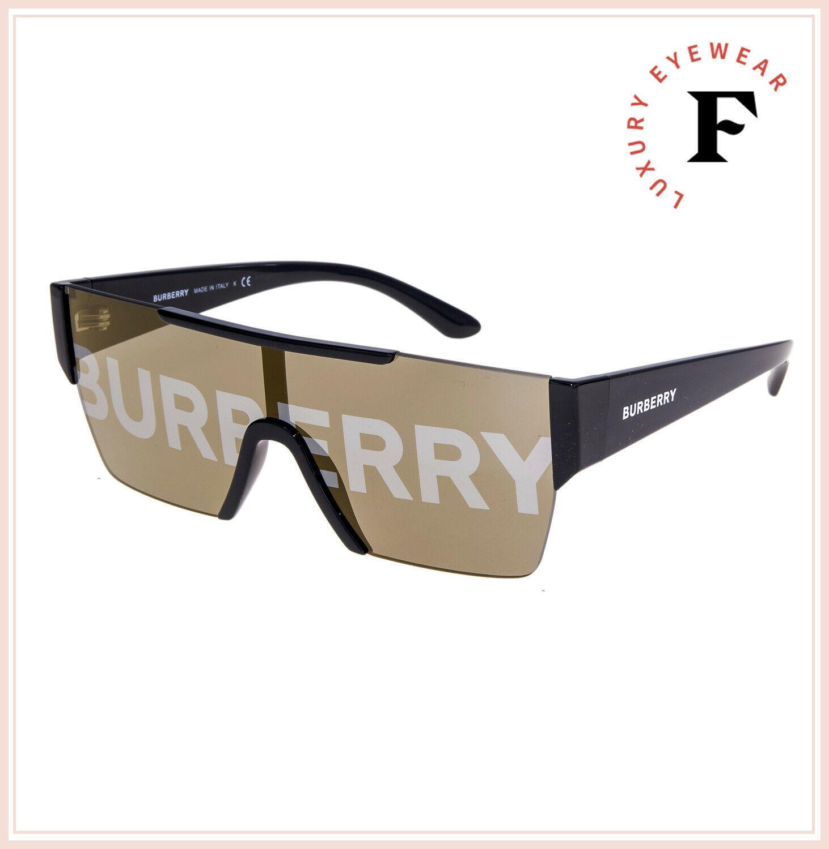 BURBERRY LOGOMANIA 4291 Shield Black Gold Mirrored Sunglasses BE4291S Unisex