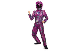 Girls Pink Power Rangers Deluxe Costume with 3D Detail Pink Ranger Med 7... - $19.75
