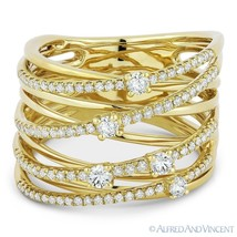 0.63 ct Round Cut Diamond Right-Hand Overlap Loop Wrap Ring in 14k Yello... - $1,765.00