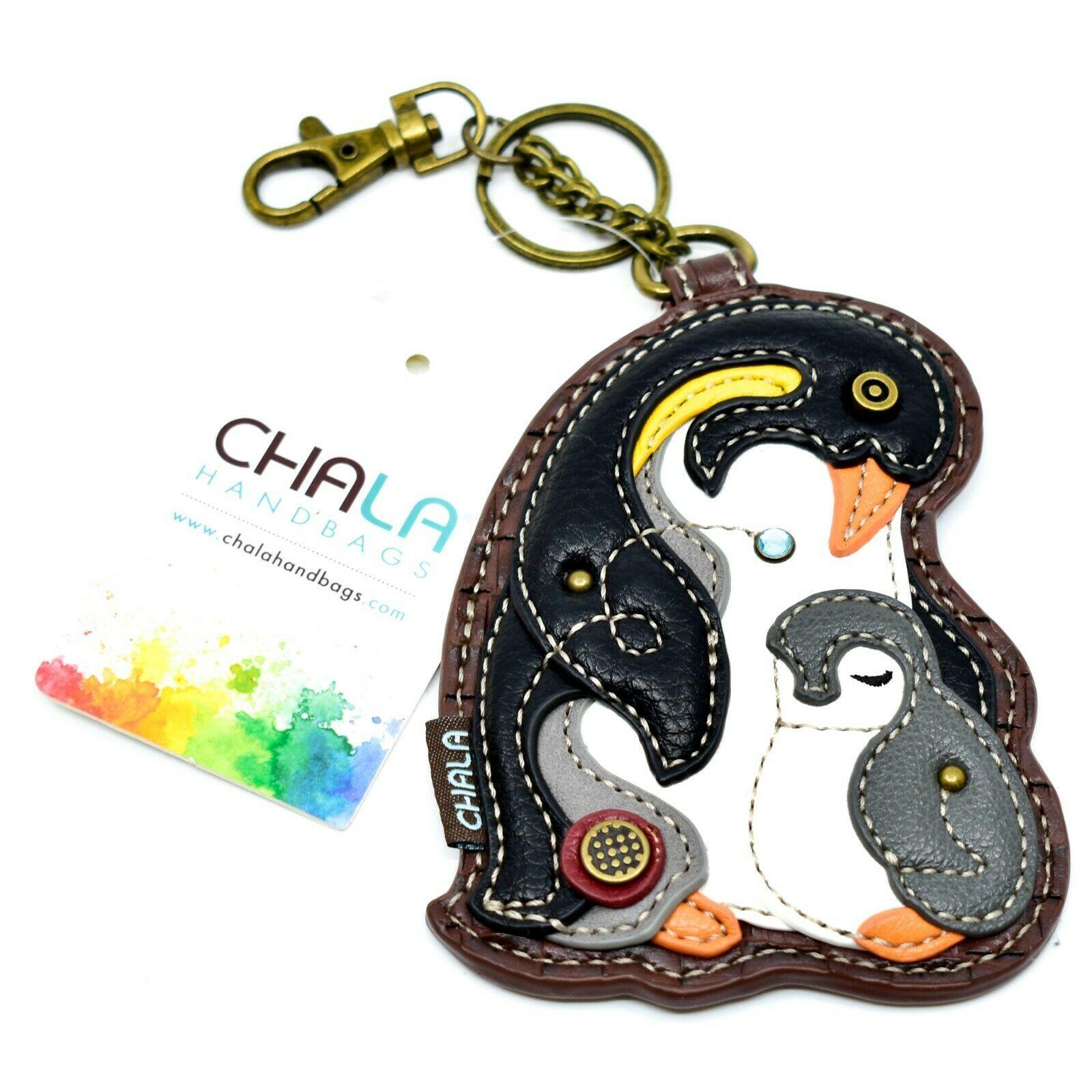 Chala Handbags Faux Leather Penguin Coin Purse Key Chain Fob Keychain