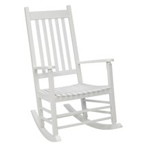 Outdoor Porch Rocking Chair Classic White Finish Wood Wooden Patio Rocke... - $118.30