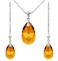 Pretty Silver Tone Jewelry Set- Amber Topaz Color Necklace Earrings - Cr... - $104.18