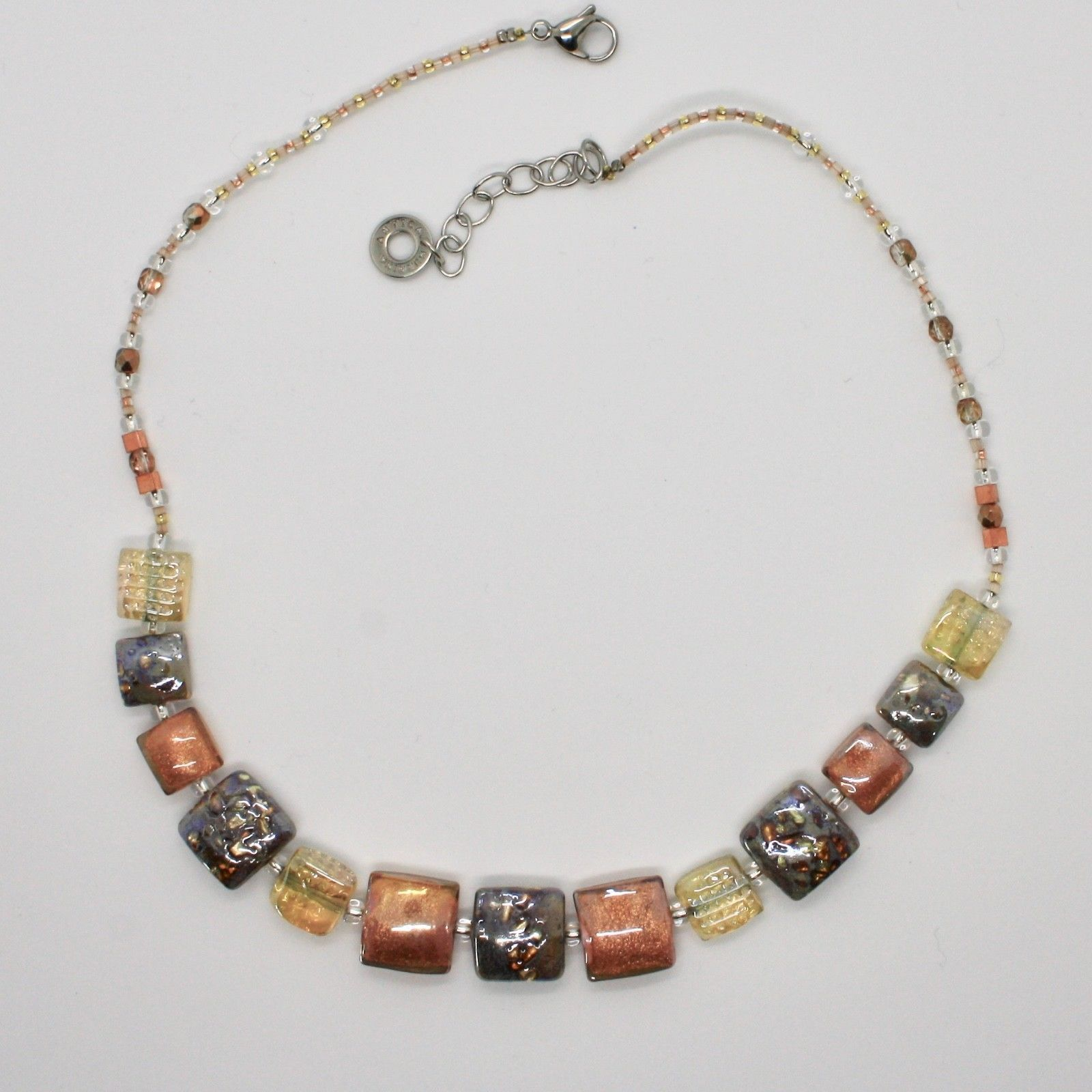 ANTICA MURRINA VENEZIA NECKLACE WITH MURANO GLASS YELLOW BEIGE GOLD GREY