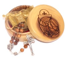 Olive Wood First Communion Gift Set - First Communion Box and Rosary fro... - $48.80