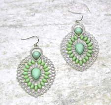 Women new silver milky kiwi green stone filigree tear drop hook pierced ... - ₹1,295.56 INR