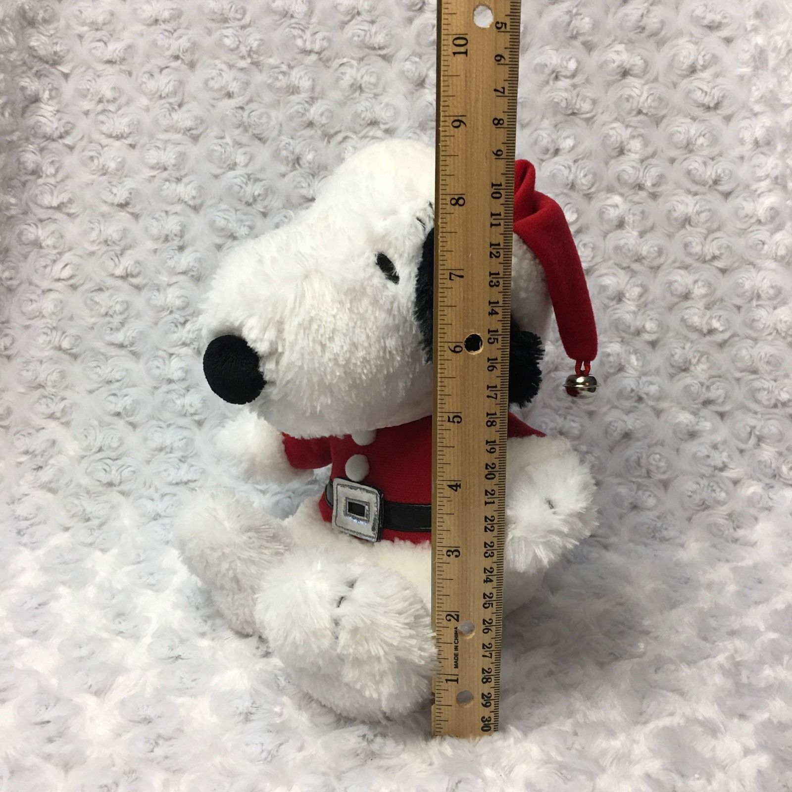 Snoopy Peanuts Hallmark Medium Christmas Holiday Stuffed Plush as Santa Bell Hat image 2