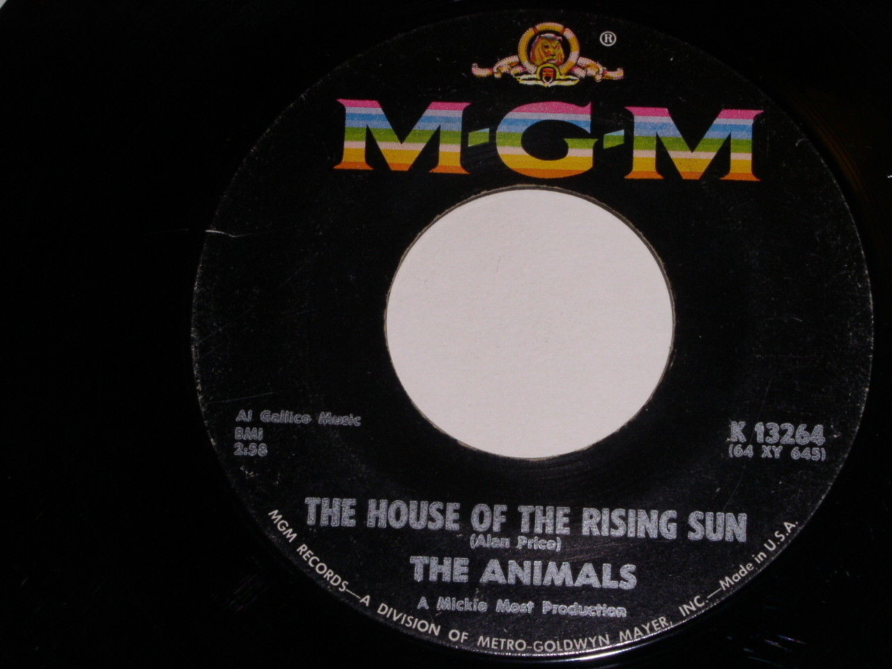 The Animals The House Of The Rising Sun 45 Rpm Record Vintage MGM Label