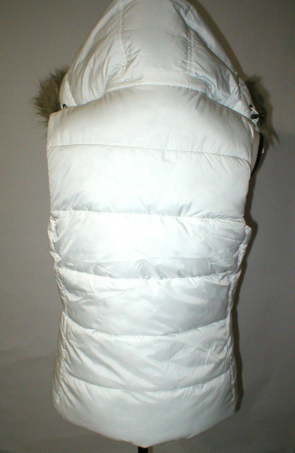 New NWT Womens S Banana Republic Faux Fur Hooded Vest White Removeable Sherpa image 5