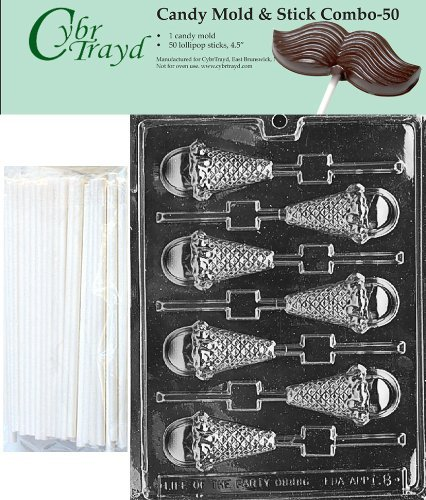 Primary image for Cybrtrayd 45St50-K008 Ice Cream Cone Lolly Chocolate Candy Mold with 50 Cybrtray