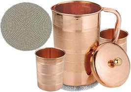 Set of Water Glasses and a Jug with lid, Pure Copper Drinkware Accessori... - $33.65
