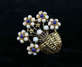 Vintage Opal and Lapis 18K Gold Flower Basket Italian Brooch Pin - $2,178.00