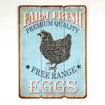 Primitive Country FREE RANGE EGGS WOOD SIGN PLAQUE Farmhouse Wall Farm F... - $45.99