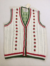 NWT Marisa Christina L Large Strawberry Patch Sweater Vest White Red Green - $22.49