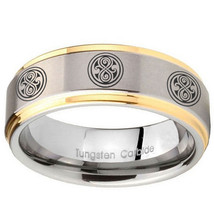 10mm Multiple Doctor Who Step Edges Gold 2 Tone Tungsten Wedding Band Mens - $44.99
