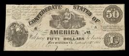 1861 $50 Confederate Note T-14 in Fine Condition - $148.49