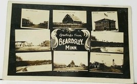 RPPC Beardsley Minn Stock Yards, Street Views, School, Elevators Postcar... - $21.95