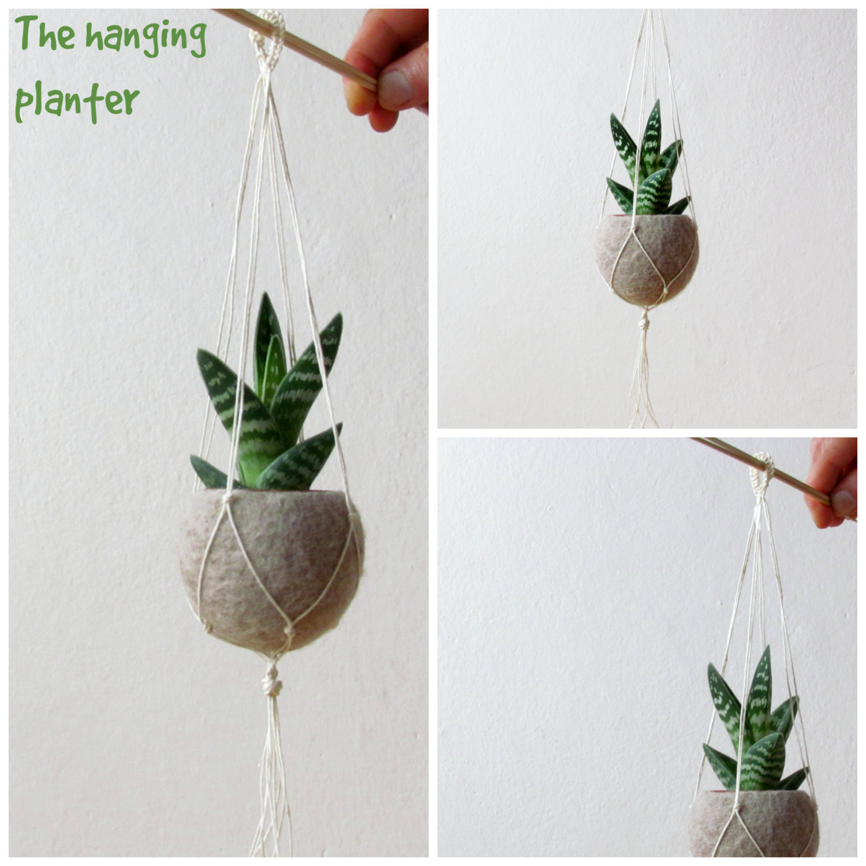 Hanging planter / Macrame plant hanger / Beige Felt planter / air plant vase/