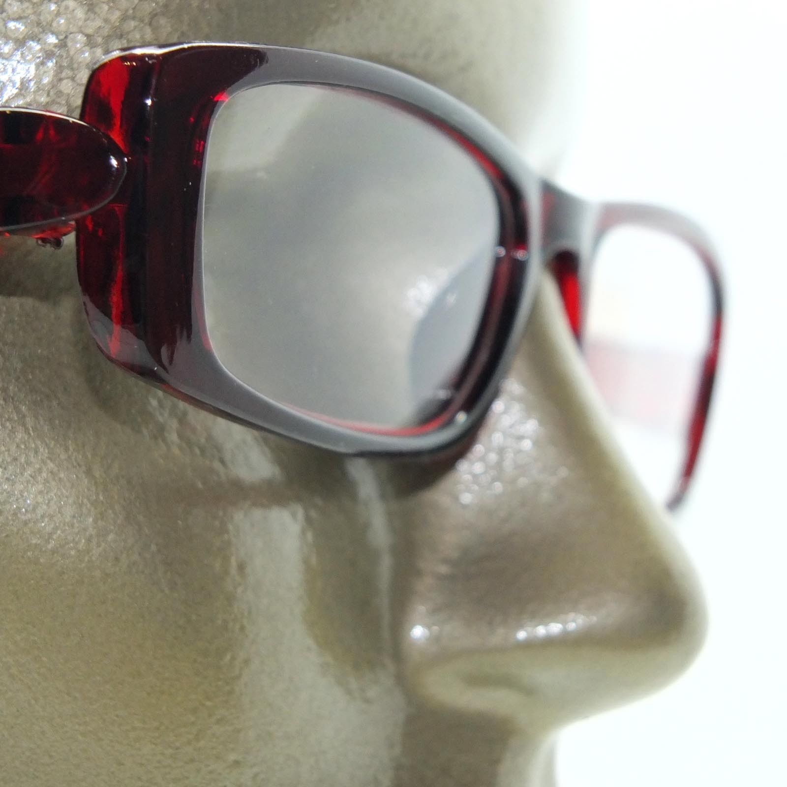Reading Glasses Chunky Bold Full Burgundy Wine Glossy Square Frame +1.50 Lens