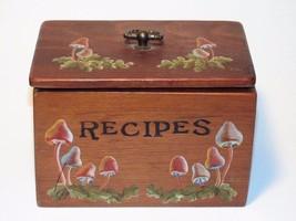 Vintage Wood Recipe Box w/ Hand Painted Mushroo... - $19.55