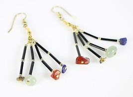 Vintage Tiered Dangle Stone Tigers Eye Quartz Fish Hook Costume Jewelry ... - $16.34