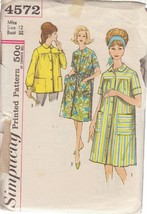 SIMPLICITY PATTERN 4572 SIZE 12 MISSES' DUSTER IN 2 VARIATIONS, SMOCK - $3.90