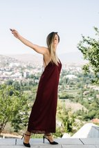 Burgundy Slip On Bareback Dress image 2