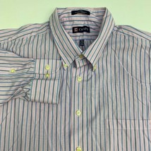 Chaps Dress Shirt Mens 18 Pink Blue 36/37 Sleeve Twill Striped Wrinkle Free - $18.95