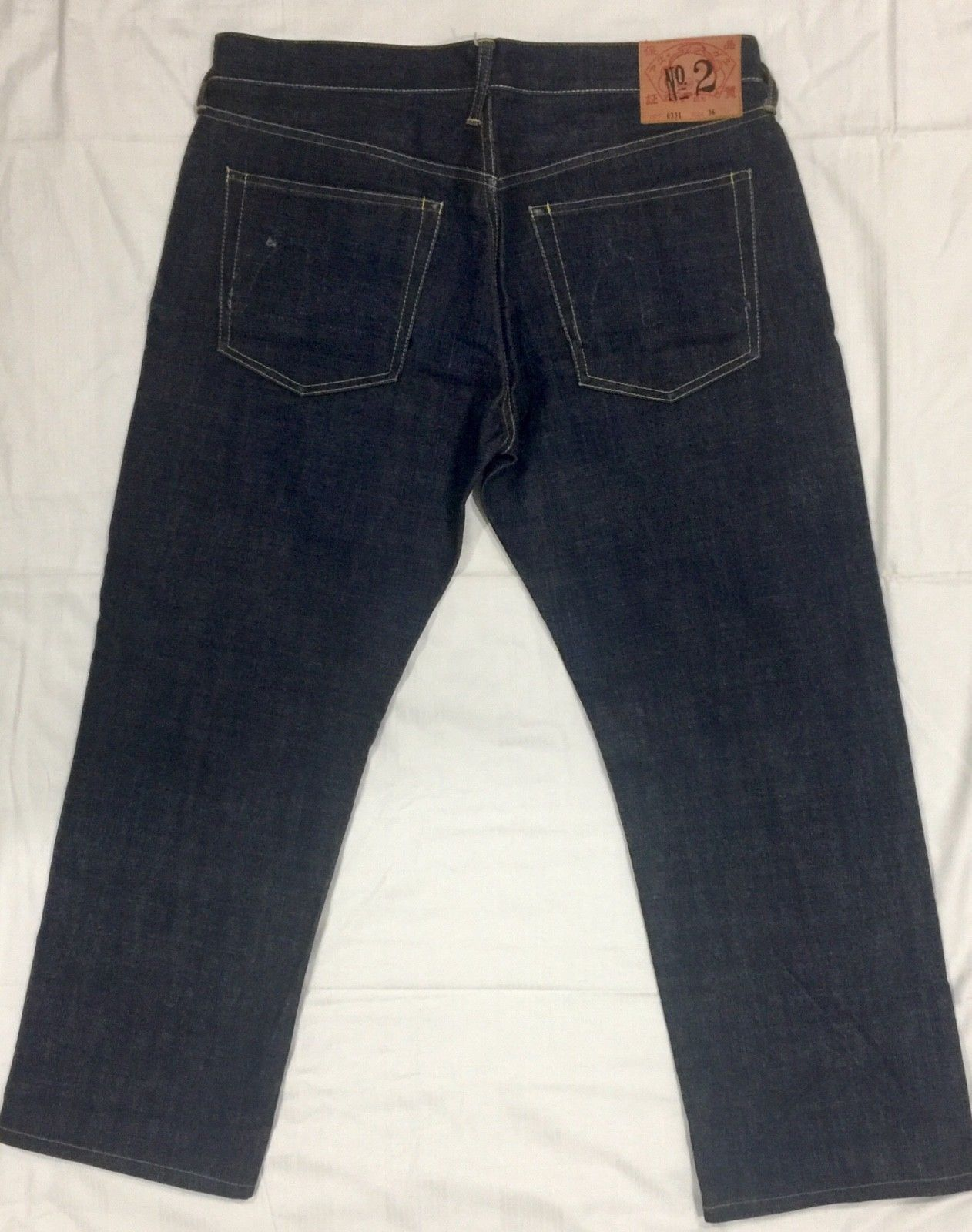 57883aa6cf5a Mens Indigo Genes Evisu Selvedge Jeans Sz 36 Raw Dark Wash Blue EUC