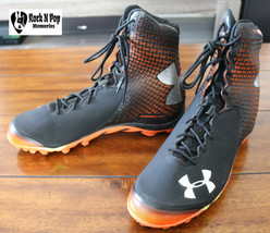 Under Armour UA Spine Brawler Football Cleats Black Orange 1246128-081 S... - $51.24