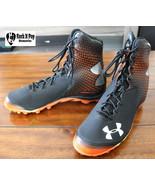 Under Armour UA Spine Brawler Football Cleats Black Orange 1246128-081 S... - $51.24