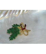 Vintage GERRY's Signed Goldtone Pinecone with Holiday Ribbon & Green Pin... - $7.69