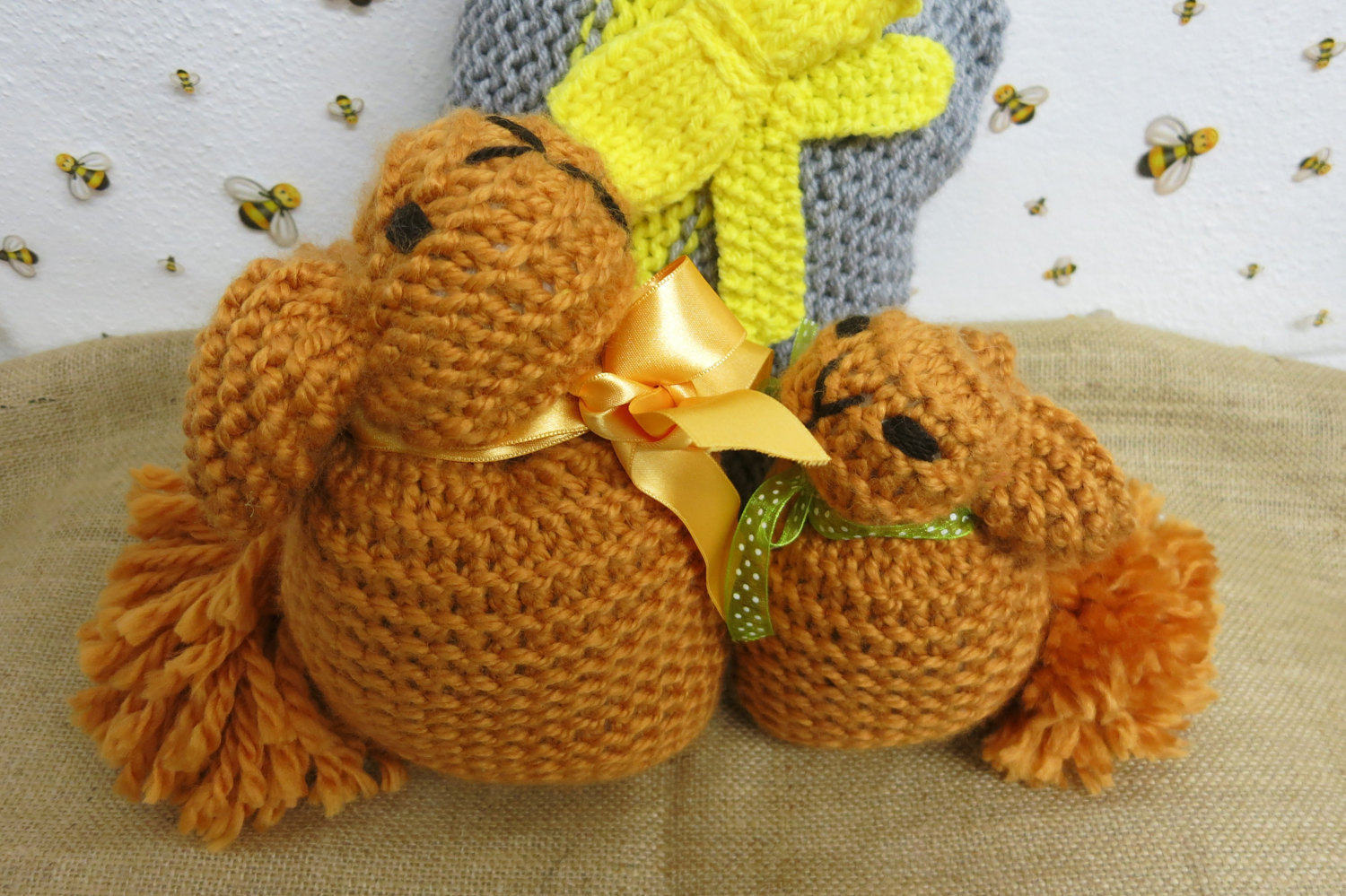 Handmade bunny stuffed toy- knitted toy-nursery decoration-birthday gift