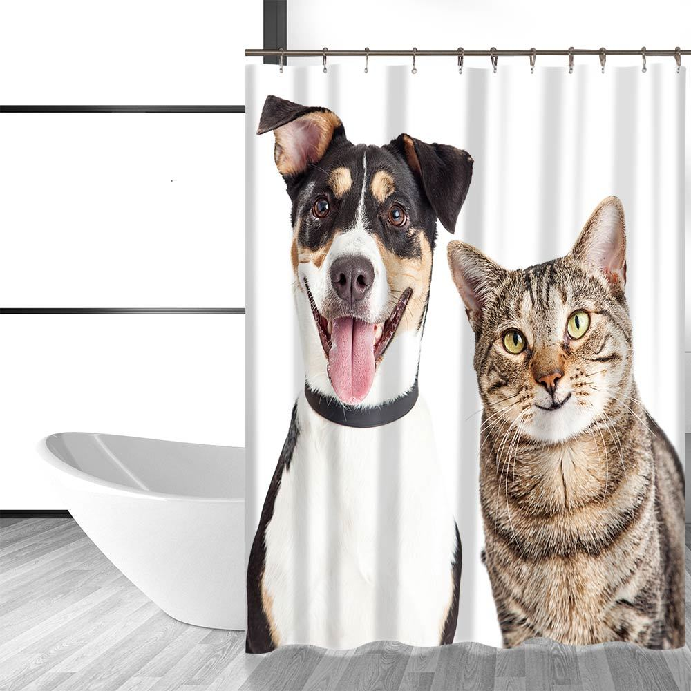 Miracille Cute Dog and Cat Printing Bathroom Decorative Shower Curtain Waterproo image 2