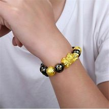 1 x Black Obsidian Feng Shui Pi Xiu Bracelet Beads Attract Good Luck Wealth  image 8