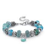 PalmBeach Jewelry Blue Crystal Bali-Style Beaded Charm Bracelet Silverto... - $23.99