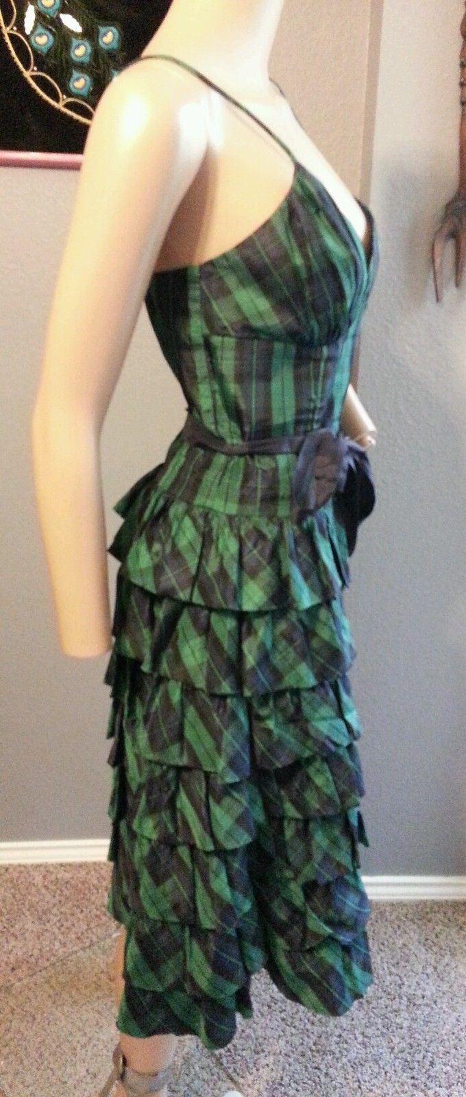 Vtg 90's Betsey Johnson NY Tartan Plaid Goth Grunge Tiered Party Dress 6