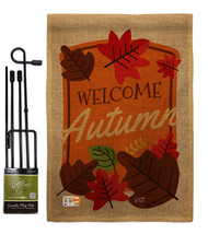 Welcome Autumn Burlap - Impressions Decorative Metal Garden Pole Flag Se... - $33.97