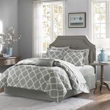 Luxury Grey & White Reversible Fretwork Comforter Set AND Matching Sheet... - $123.49+