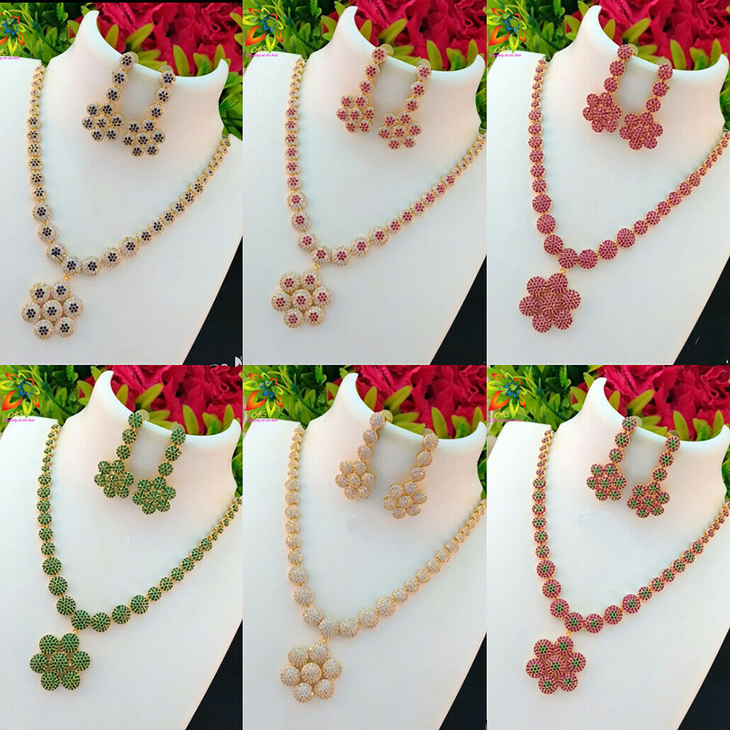 SIMPLE LIGHT WEIGHT CZ WHITE AND MULTICOLOR FLOWER PENDANT SHORT NECKLACE  image 7