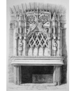 FRANCE Dijon Fireplace in Palace of Dukes of Bourgogne - SUPERB 1843 Print - $25.20