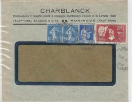 FRANCE 1937 COVER , HUNINGUE WITH TUBERCULOSIS STAMPS ON REVERSE. REF R362 - $7.26