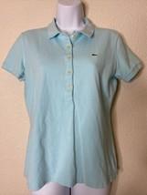 Lacoste Women Size 42/L Light Blue Polo Shirt 1/2 Button Cotton Blend - $23.76