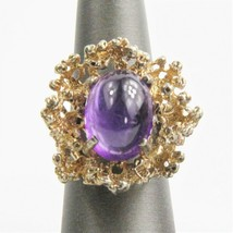 ESTATE VINTAGE BRUTALIST STERLING GOLD AMETHYST CABOCHON RING SZ 7.5 PAN... - $225.00